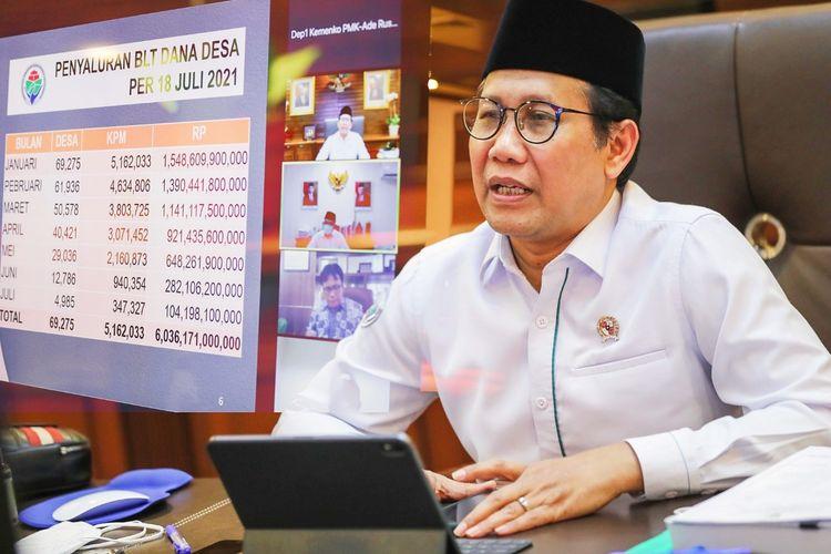 Menteri Desa, Pembangunan Daerah Tertinggal, dan Transmigrasi (Menteri Desa PDTT) Abdul Halim Iskandar (Gus Halim) saat menghadiri Rapat Tingkat menteri (RTM) virtual pada Senin (19/7/2021).