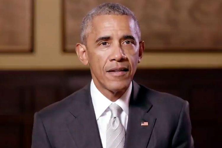 Mantan Presiden Amerika Serikat Barack Obama yang muncul dalam sebuah rekaman video, untuk memberikan dukungan kepada Calon Presiden Perancis Emmanuel Macron.