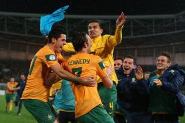Timnas Australia saat berlaga dalam kualifikasi Piala Dunia 2014 melawan Iraq di ANZ Stadium, 18 Juni 2013.
