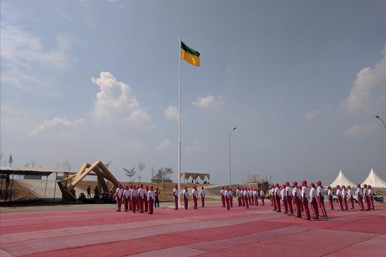 Persiapan Upacara Kemerdekaan di Pulau D Reklmasi pada Rabu (14/8/2019)