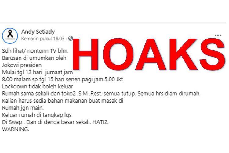 Tangkapan layar unggahan yang menyebut DKI Jakarta akan lockdown pada akhir pekan depan depan mulai Jumat (12/2/2021) malam hingga Senin (15/2/2021) pagi.