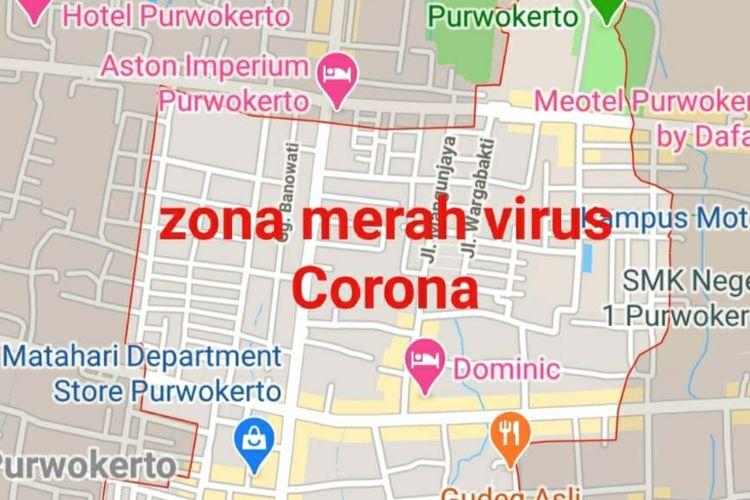 Tangkapan layar HP yang menunjukkan zona merah virus corona di Purwokerto, Kabupaten Banyumas, Jawa Tengah.