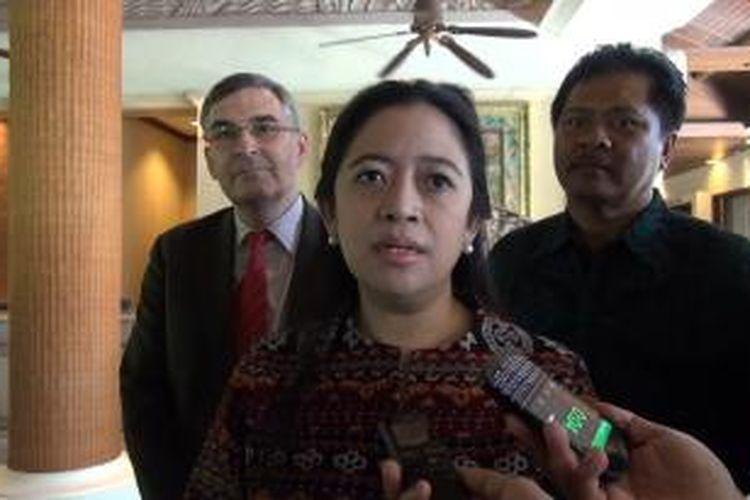 Menteri Koordinator Bidang Pembangunan Manusia dan Kebudayaan, Puan Maharani usai pembukaan acara Forum ASEAN Next Generation CSR di Lagun Hotel Nusa Dua Bali