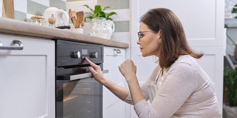 Ilustrasi oven, membuat kue, memanggang kue