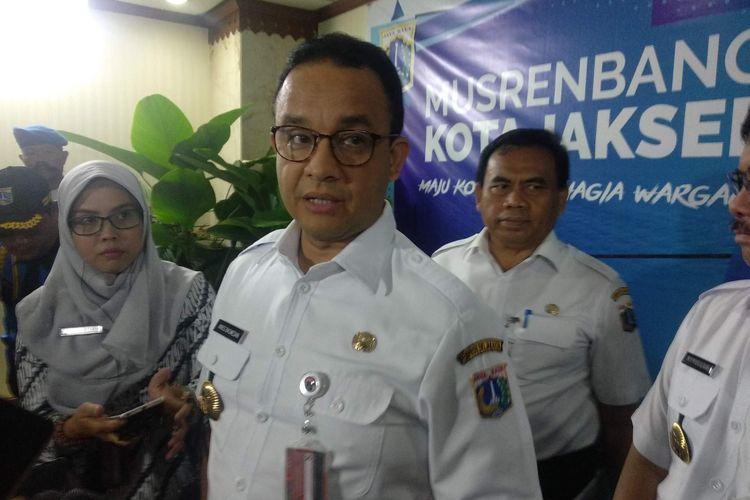 Gubernur DKI Jakarta Anies Baswedan usai membuka musyawarah perencanaan pembangunan (Musrenbang) di Kantor Wali Kota Jakarta Selatan, Rabu (20/3/2019).
