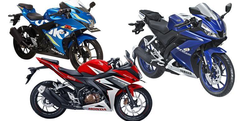 Adu spesifikasi Honda CBR150R, Yamaha R15, dan Suzuki GSX-R150.