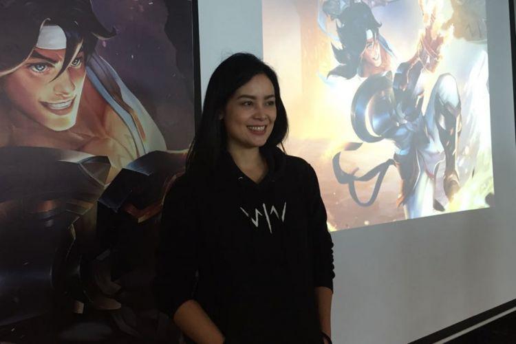 Sheila Timothy dalam konferensi pers Wiro Sableng menjadi Hero dalam game AOV di Pacific Century Place, SCBD, Jakarta Selatan, Kamis (26/7/2018) sore.