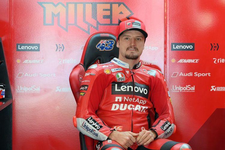Pebalap Ducati Jack Miller pada sesi latihan bebas MotoGP Catalunya di Sirkuit Barcelona, Jumat (4/6/2021).