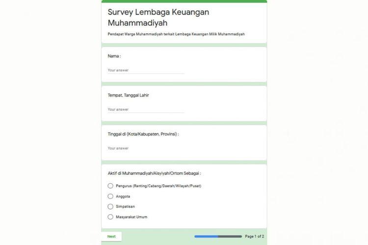 Tangkapan layar survei lembaga keuangan Muhammadiyah yang ditegaskan PP Muhammadiyah tidak resmi dikeluarkan pihaknya.