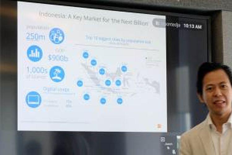 Henky Prihatna, Country Industry Head Google Indonesia memaparkan hasil survei e-commerce Indonesia, Kamis (3/9/2015).