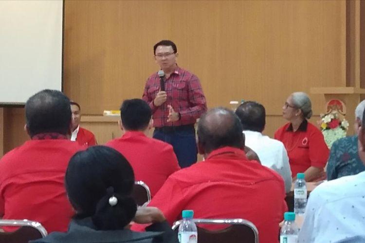Ahok saat berdialog dengan tokoh agama dan akademisi di Kota Kupang, NTT, Selasa (13/8/2019).