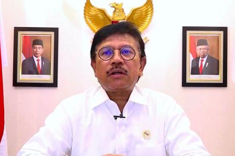 Menteri Komunikasi dan Informatika Johnny G. Plate rapat virtualantara Kementerian Kominfo, BSSN dan Tokopedia