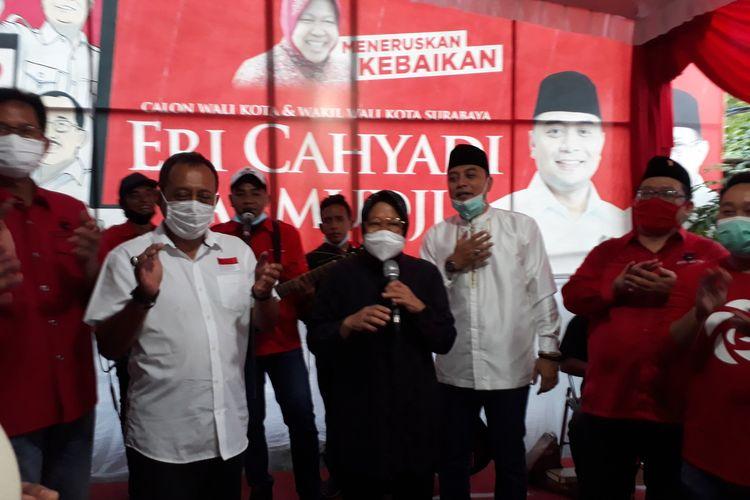 Wali Kota Surabaya Tri Rismaharini saat berpidato bersama paslon nomor urut 1 Eri Cahyadi-Armuji di Kantor DPC PDI-P Kota Surabaya Jalan Setail Nokor 8 Surabaya, Rabu (12/9/2020).