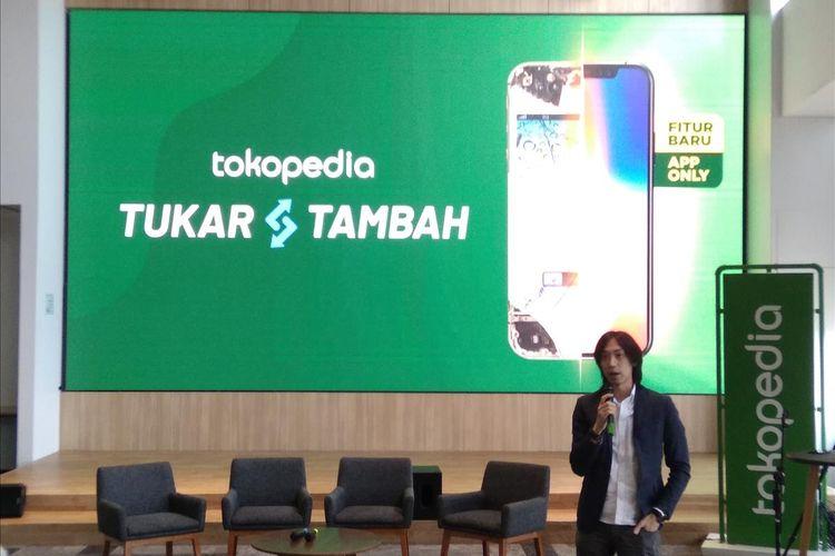 VP Digital Marketing Erajaya Swasembada Eric Lee saat peluncuran fitur Tokopedia Tukar Tambah di Jakarta, Kamis (18/7/2019).