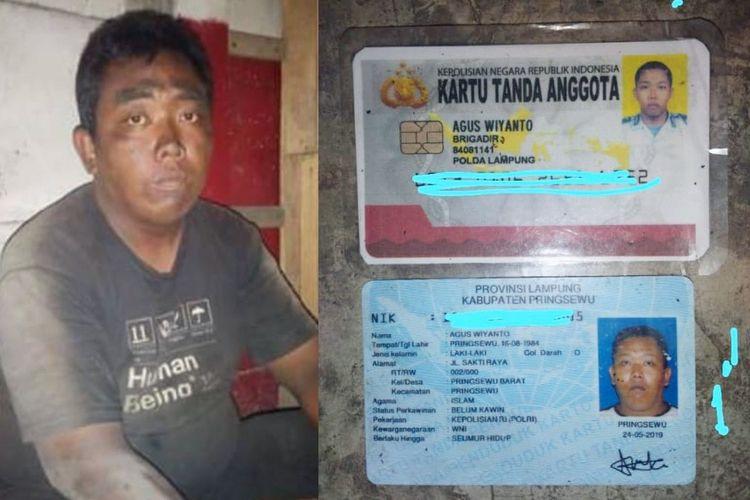 Agus Wiyanto, anggota Polres Pringsewu yang ditemukan telantar di area Pelabuhan Merak.