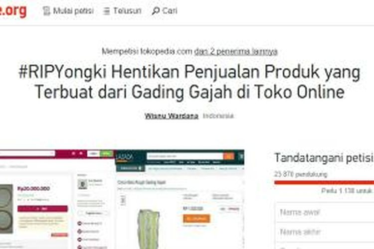 Petisi di Change.org yang meminta agar toko online di Indonesia menghentikan penjualan gading gajah.