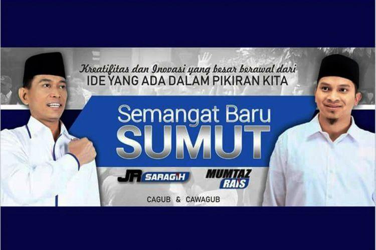 Spanduk Bupati Simalungun JR Saragih dan Ahmad Mumtaz Rais yang beredar, Selasa (14/11/2017)