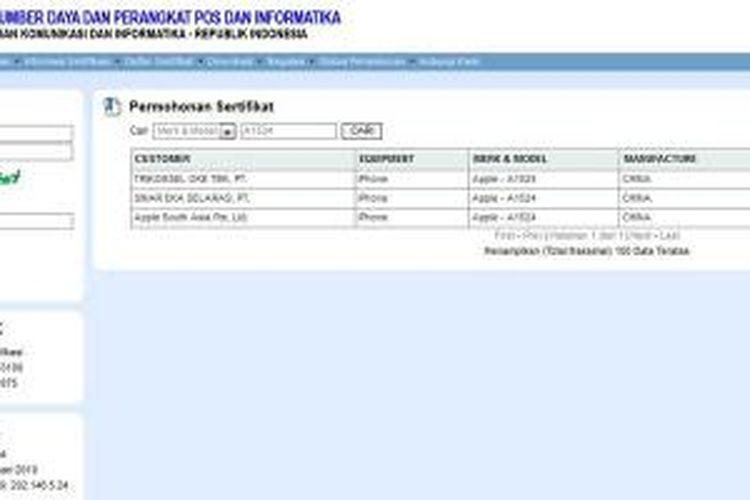 Tangkapan gambar situs Ditjen Postel yang menampilkan status uji iPhone 6 dan iPhone 6 Plus.