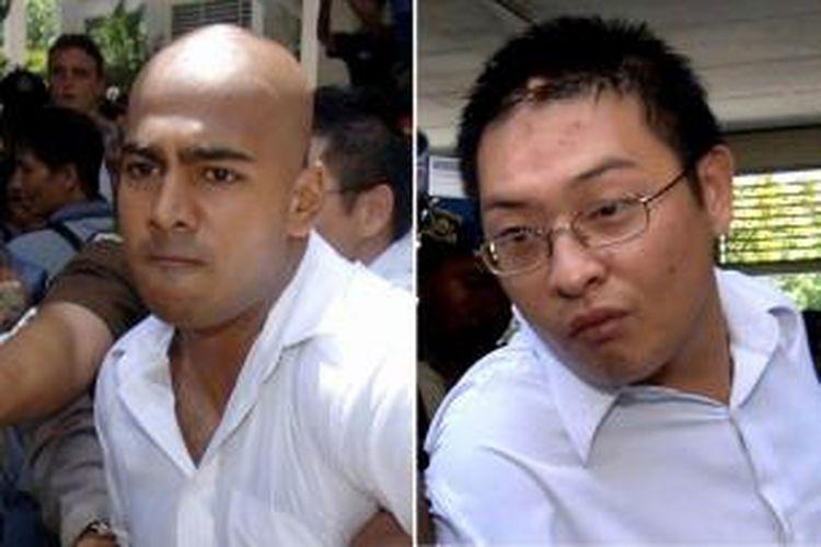 Dua terpidana mati kasus narkotika kelompok Bali Nine yaitu Myuran Sukumaran (kiri) dan Andrew Chan usai proses pengadilan di Bali, 14 Februari 2006.