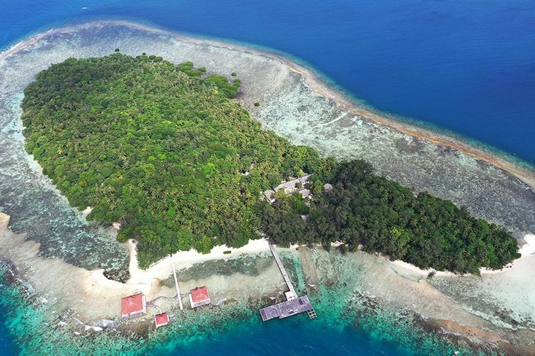 Foto aerial Pulau Sebaru Kecil di Kepulauan Seribu, Jakarta, Senin (26/2/2020). Pulau Sebaru akan menjadi lokasi observasi 188 WNI ABK World Dream selama 14 hari, menyusul munculnya kasus positif virus corona di kapal pesiar tersebut.