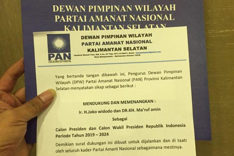 Dewan Pimpinan Wilayah (DPW) Partai Amanat Nasional (PAN) Kalimantan Selatan mendeklarasikan dukungan kepada pasangan calon presiden dan wakil presiden nomor urut 01, Joko Widodo dan Maruf Amin.