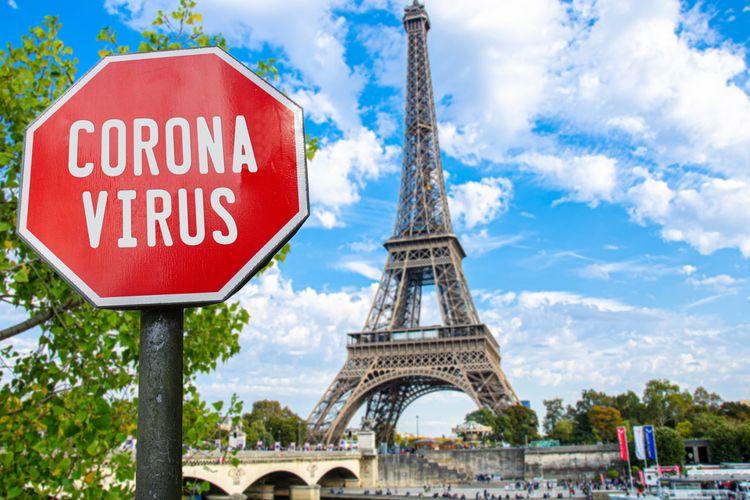 Ilustrasi virus corona di Paris, Perancis.