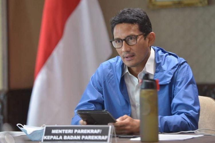 Menparekraf Sandiaga Uno saat memimpin rapat virtual bersama seluruh Kepala Dinas Pariwisata dari 34 provinsi di Indonesia, Sabtu (26/12/2020).