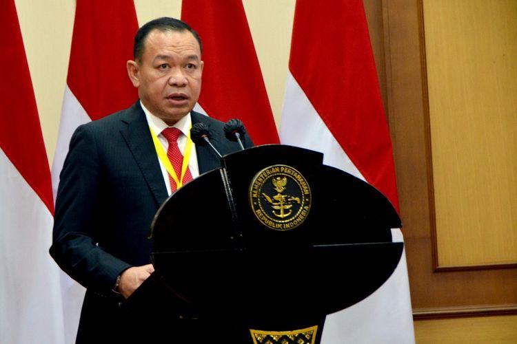 Direktur Jenderal Strategis Pertahanan Kementerian Pertahanan (Dirjen Strahan Kemenhan), Mayjen TNI Rodon Pedrason memberikan sambutan dalam Rapat Koordinasi Teknis (Rakornis) Dirjen Strahan Kemenhan, di kantor Kemenhan, Jakarta, Rabu (10/2/2021).