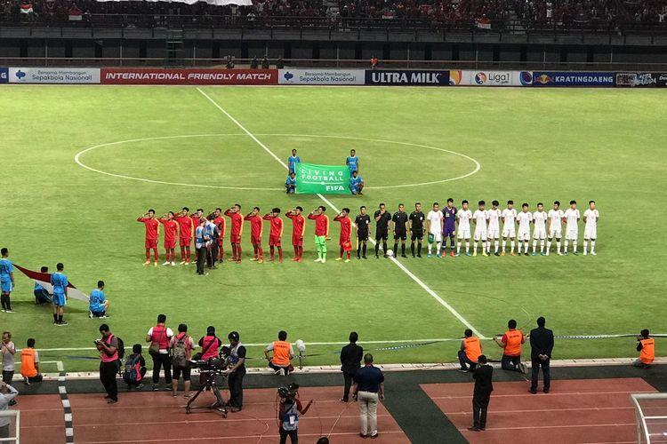 Laga uji coba antara timnas U-19 Indonesia vs China yang berlangsung yang berlangsung di Stadion Gelora Bung Tomo, Surabaya, pada Kamis (17/10/2019) malam.