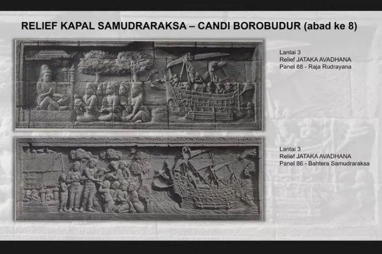 Relief yang menunjukkan gambar kapal kayu di Candi Borobudur