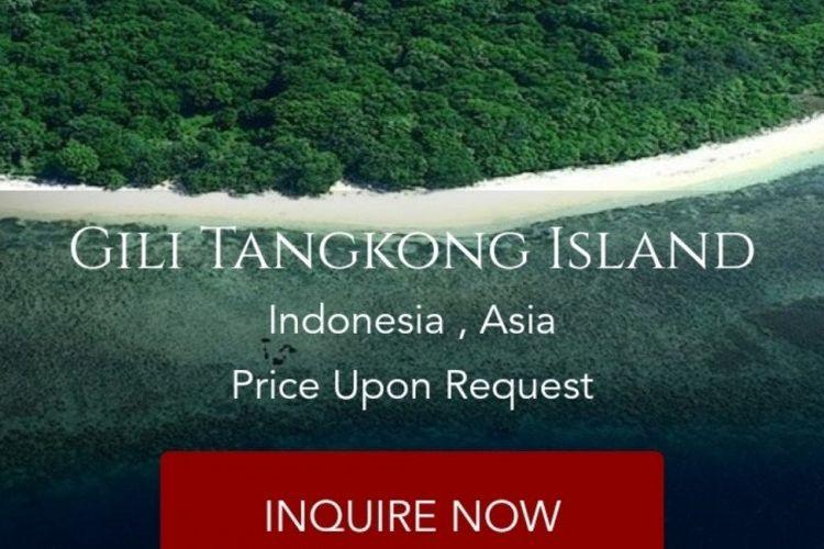 Pulau atau Gili Tangkong terpampang dijual oleh salah satu situs online.