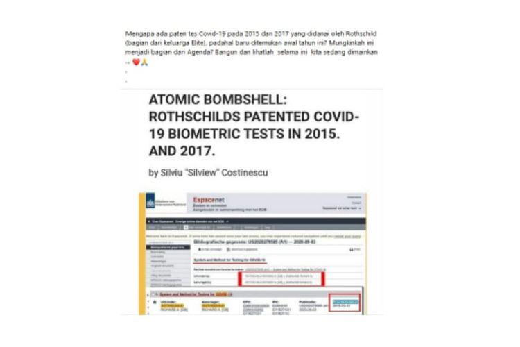 Tangkapan layar dengan klaim paten pengujian Covid-19 diajukan pada 2015 oleh Rothschild.