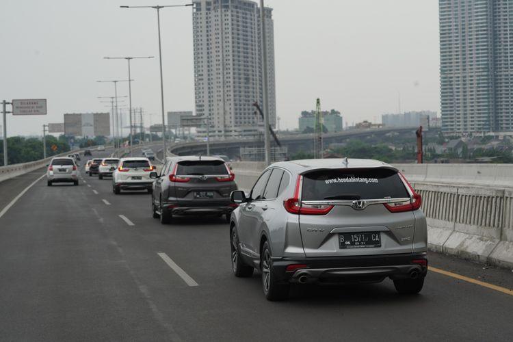 Honda Prospect Motor menggelar uji coba berkendara di jalan tol layang menggunakan Honda CR-V
