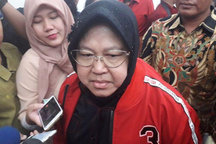 Wali Kota Surabaya Tri Rismaharini memberi keterangan kepada wartawan di Kantor DPP PDI-P, Senin (19/8/2019).