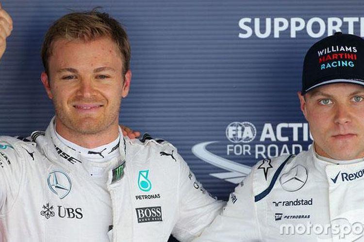 Nico Rosberg (kiri) dan Valtteri Bottas (kanan).