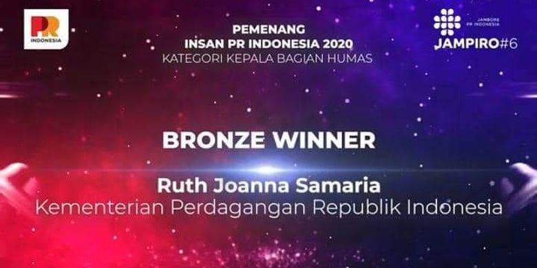 Pranata Humas Ahli Madya, Biro Humas Kemendag Ruth Joanna Samaria mendapatkan PR Award sebagai Insan PR Indonesia 2020 oleh Majalah PR Indonesia.