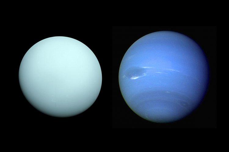 Uranus (kiri) dan Neptunus (kanan)
