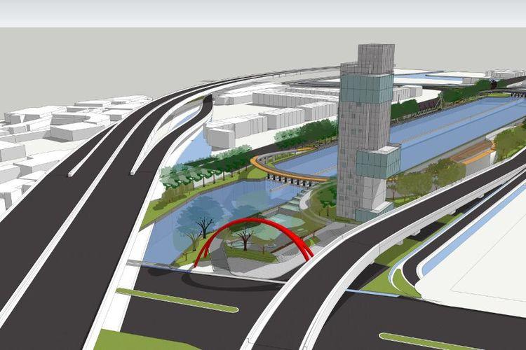 Desain Revitalisasi Sungai Kalimalang, Bekasi, Jawa Barat.