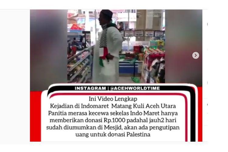 Title : 20190512 Viral, Peminta Sumbangan Mengamuk karena Diberi Rp 1.000      Kontributor : Masriadi [K107-15]    Telp : 085296503400    Video oknum pengurus masjid di Kecamatan Matangkuli, Kabupaten Aceh Utara mengamuk karena diberi uang sumbangan sebesar Rp 1.000 oleh karyawan Indomaret