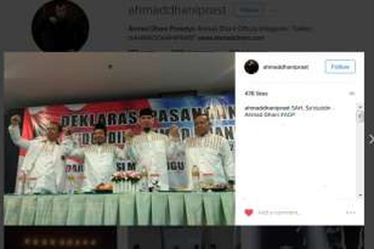 Acara deklarasi pasangan Sa'duddin-Ahmad Dhani untuk maju ke Pilkada Kabupaten Bekasi 201. Acara itu digelar di Hotel @Hom Tambun, Bekasi, Minggu (18/9/2016) siang.