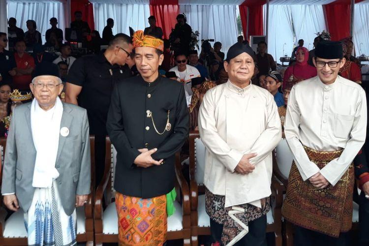 Dua pasangan capres-cawapres, Joko Widodo-Maruf Amin dan Prabowo Subianto-Sandiaga Uno, menghadiri deklarasi kampanye damai di Lapangan Silang Monas,