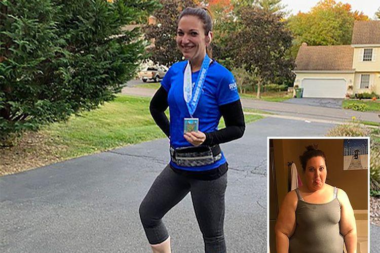 Megan Marie sebelum dan sesudah penurunan berat badan.