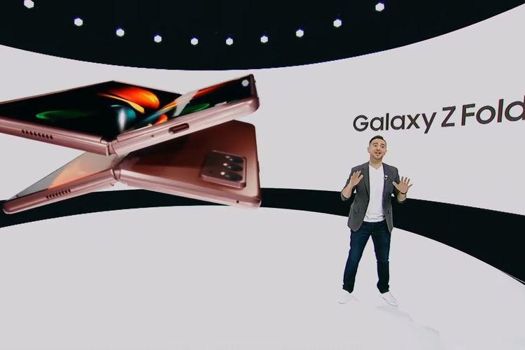 Panggung peluncuran Galaxy Z Fold 2.
