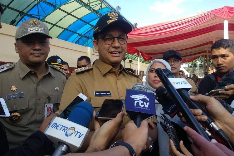 Gubernur DKI Jakarta Anies Baswedan di Lapangan Banteng, Minggu (14/4/2019).