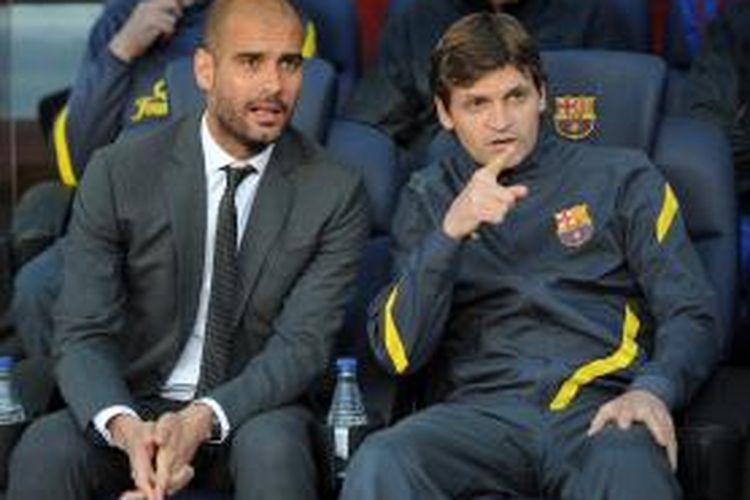 Tito Vilanova ketika masih menjadi asisten Josep Guardiola di Barcelona. Foto diambil pada 2 Mei 2012.
