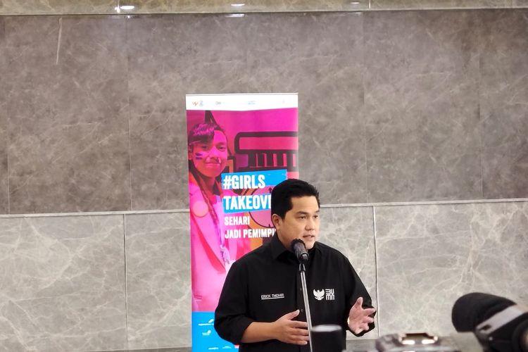 Menteri BUMN Erick Thohir dalam acara #GirlsTakeOver 2021.