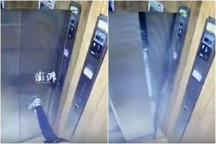 Bocah di China menjebol pintu lift hanya dengan sentuhan kakinya ketika sedang meregangkan tubuhnya. (Dwnews.com via Straits Times)