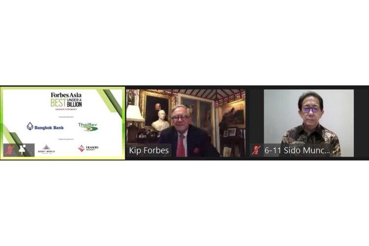 Christopher Forbes dan Direktur Sido Muncul Irwan Hidayat bertatap muka secara virtual (dok. Sido Muncul)