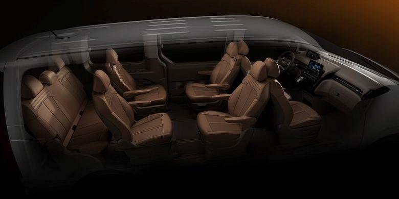 Tampilang ruang interior Hyundai Staria
