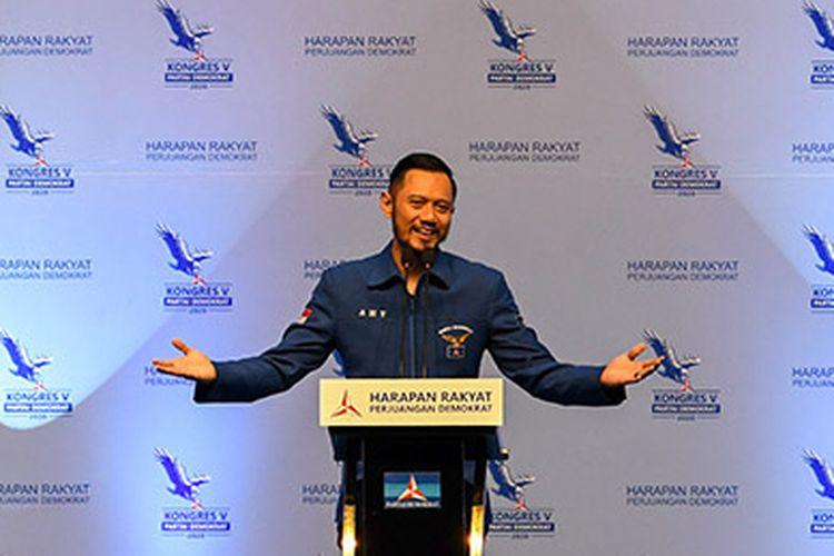 Ketua Umum Partai Demokrat yang baru, Agus Harimurti Yudhoyono (AHY) menyampaikan pidato saat Kongres V Partai Demokrat di Jakarta, Minggu (15/3/2020). Dalam kongres tersebut, Agus Harimurti Yudhoyono terpilih secara aklamasi menjadi Ketua Umum Partai Demokrat periode 2020-2025 menggantikan Susilo Bambang Yudhoyono yang selanjutnya menjadi Ketua Majelis Tinggi Partai Demokrat.